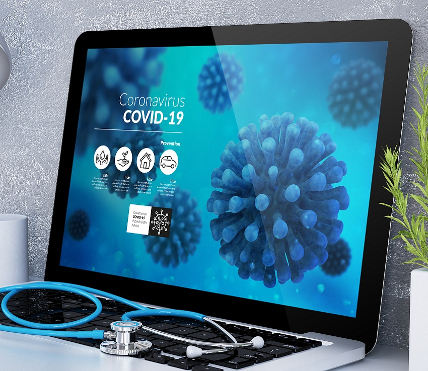 medical desktop computer coronavirus info on screen 3d rendering